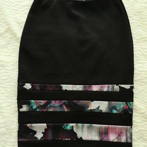 Apt.9 Black/Purple Floral Stripe Knee-Length Skirt